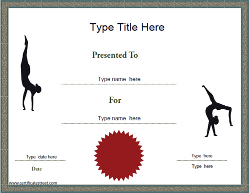 Certificate street free award certificate templates no gymnastics achievement certificate template yadclub Images