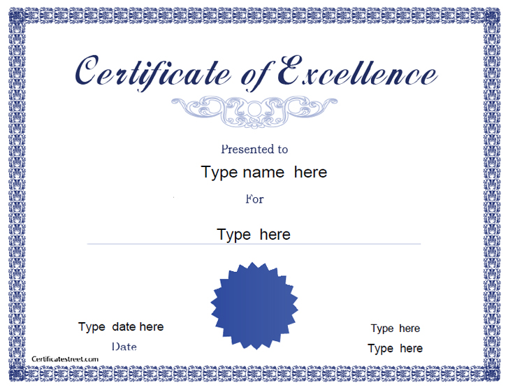 Awesome Certificate Of Excellence Template Images - Best Resume