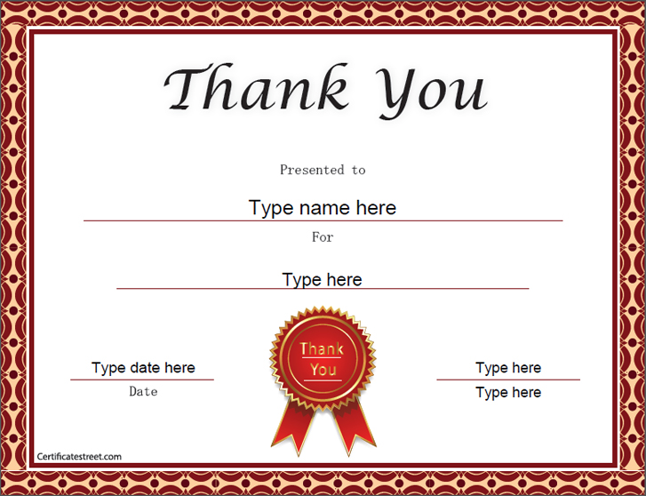 Special Certificates Thank You Certificate Template – Thank You Certificate Template
