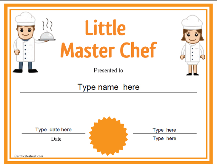 Cooking Certificate Template Prepossessing Certificate Street Free Award Certificate Templates  No .