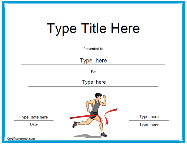 Sports Certificates Running Award Certificate Template