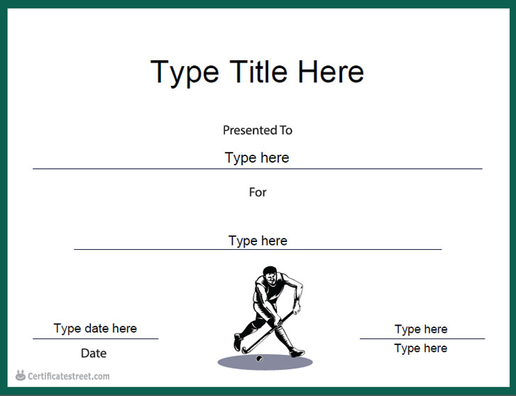 Sports Certificates Hockey Certificate Template Certificatestreet