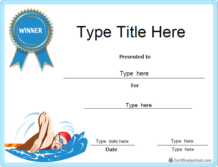 swim certificates  Swimming Certificate Template For Word Gallery - Certificate ...