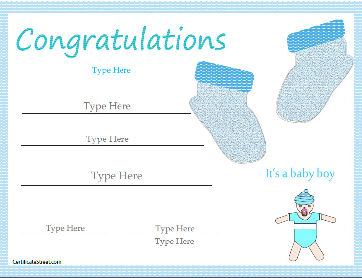 Special certificates newborn baby certificate for Boy birth certificate template